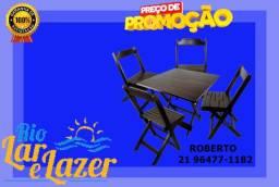 Jogo de mesa 70x70 com 4 cadeiras em madeira