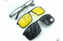 Óculos  completo, com clipon para o dia e  para noite