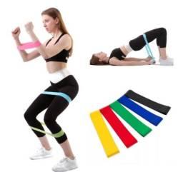 Kit 5 Faixas Elásticas Pilates Treino Academia Malhar Fisioterapia(102)