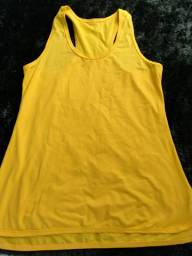 Camiseta Dryfit Amarela Feminina Fitness Poliamida com Elastano