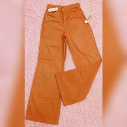 Calça pantalona cós alto