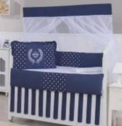 Kit berço coroas azul marinho