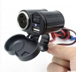 Acendedor adaptador Veicular E Tomada Usb Para Motos