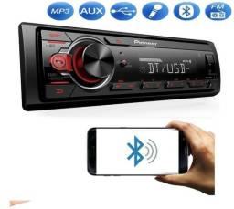 Som Mp3 Player De Carro Pioneer Potência De 23W Display Led Bluetooth Pen drive Aux P2