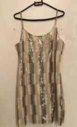 Vestido Paetê Multicolor Tamanho P