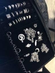 Corrente, anel e pingente de prata