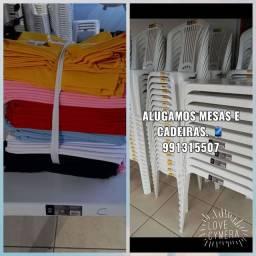 Mesas, cadeiras e toalhas!