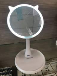Espelho Iluminado Gatinho Branco (Recarregável)