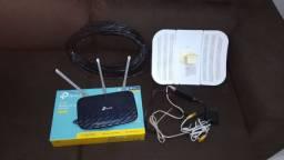 Antena Ubiquiti Lite Beam 5GHz com fonte e Roteador TP-Link Wireless AC750