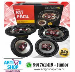 Auto Falante Bravox kIT Facil 6 + Triaxial Quadriaxial 6x9