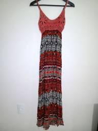 Vestido longo crochê étnico roupa feminina