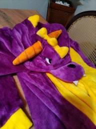 Pijama/Macacão Kigurumi dragão adulto com pantufas e luvas