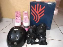 Kit de proteção + patins semi novos