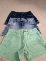 Short jeans Tam 8 e branco Tam 10