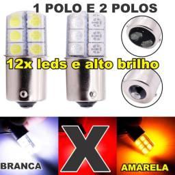 Título do anúncio: Lampada 12 Led Bay15d 1/2 Polos 1157 1034 Siliconada branca e amarela (Leia)/ambar