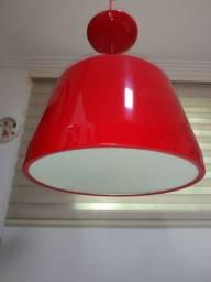 Lustre Pendente luxo vermelho cúpula redonda alumínio 22,50x60