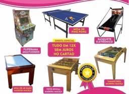 Mesas de Jogos: Totó/ Ping pong/ Air game  / Tamancobol/ Fliperama/Basquete Eletrônico/)