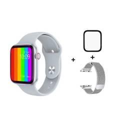 Smartwatch IWO W46 prata com pulseira millanese + película de brinde