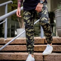 Calça Jogger Verde Soldado Camuflada Brim Com Elástico