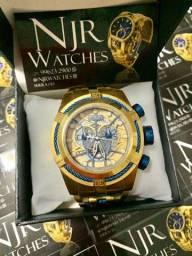 Relógio invicta zeus bolt detalhes azul novo