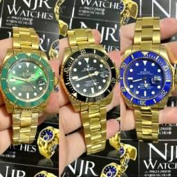 Relogio Rolex automatico banhado a ouro varias cores