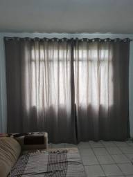Cortina cinza + arco cromado 3 metros