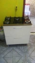 Fogão Cooktop 5 bocas com gaveteiro