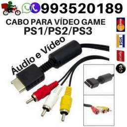 Cabo Para Videogame Playstation Ps1,Ps2 e Ps3 Av Rca Audio e Video para Playstation