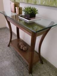 Conjunto de Aparador, Mesa lateral, e Mesa de centro em madeira e vidro