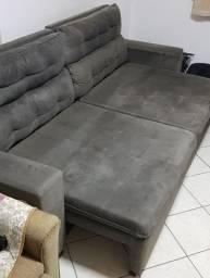 Sofá Retrátil 4 lugares com encosto ajustável - Cinza