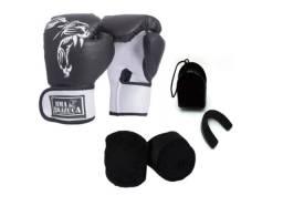 Kit Luva Box Brazuca + Bandagem + Protetor bucal x 12x R$ 18,99 x Entrega Grátis