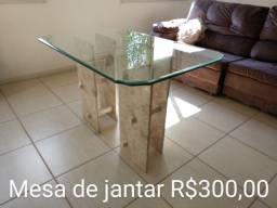 Mesa de jantar ou de centro mármore e vidro