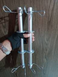 Par barras maciças 40cm com presilhas treino musculação