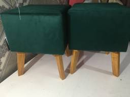 Puff pés de madeira - redondo e quadrado - r$ 74,99 - unidade
