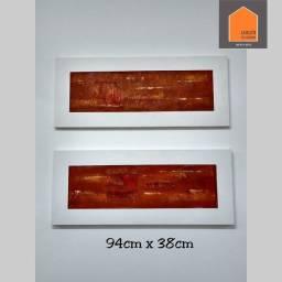 2 pinturas acrílicas sobre tela. Iracema Santos. Molduras em madeira
