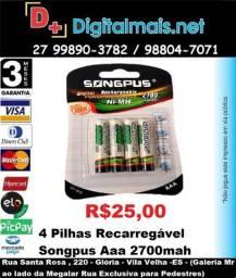 Promoção Cartela C/ 4 Pilhas Recarregável Songpus Aaa 2700mah 1.2v Ni-mh