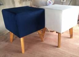 Puff pés de madeira - retrô - quadrado e redondo - diversas cores - r$ 74,99 - unidade