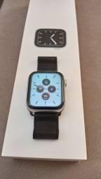 Apple Watch 5 44mm silver com pulseira em aço preta