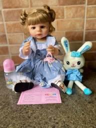 Bebê Reborn toda em Silicone loira olhos azuis Nova Original (aceito cartão )