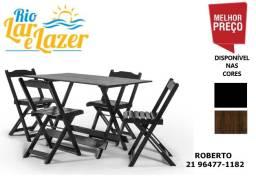 Jogo de mesa 1,20x70 com 4 cadeiras em madeira