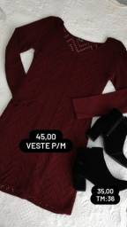 Vestido de tricô  forrado veste P/M 45.00 semi novo