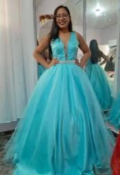 Vestido azul Tiffany 2 em 1 ALUGUEL