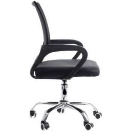 Cadeira Giratória Com Base Cromada - Preta