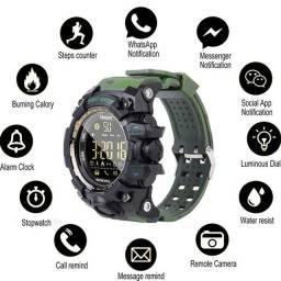 Relógio Esportivo IP67 EX16S Multifuncional com Bluetooth e Pedômetro