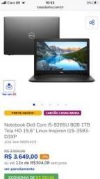Notebook Dell intel core i5 8gb ram 1tb de armazenamento.