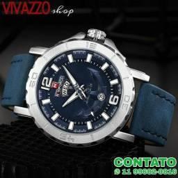 d0e3c7b69b2 Relógio NaviForce 9112S original masculino pulseira de couro azul