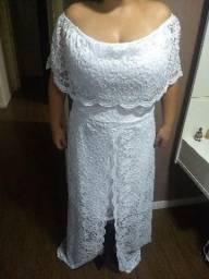 Vestido branco renda com bojo veste 48 a 52