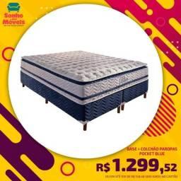 Conjunto Paropas de Molas Pocket Blue c/ Pillow Top- 1,38 x 1,88
