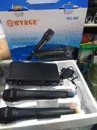 Microfone Duplo Sem Fio Profissional Vhf Wg-005