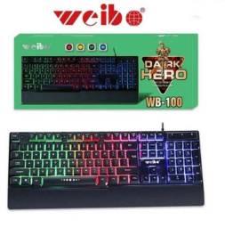 Teclado gamer Weibo USB com fio led RGB - Plenus Informática